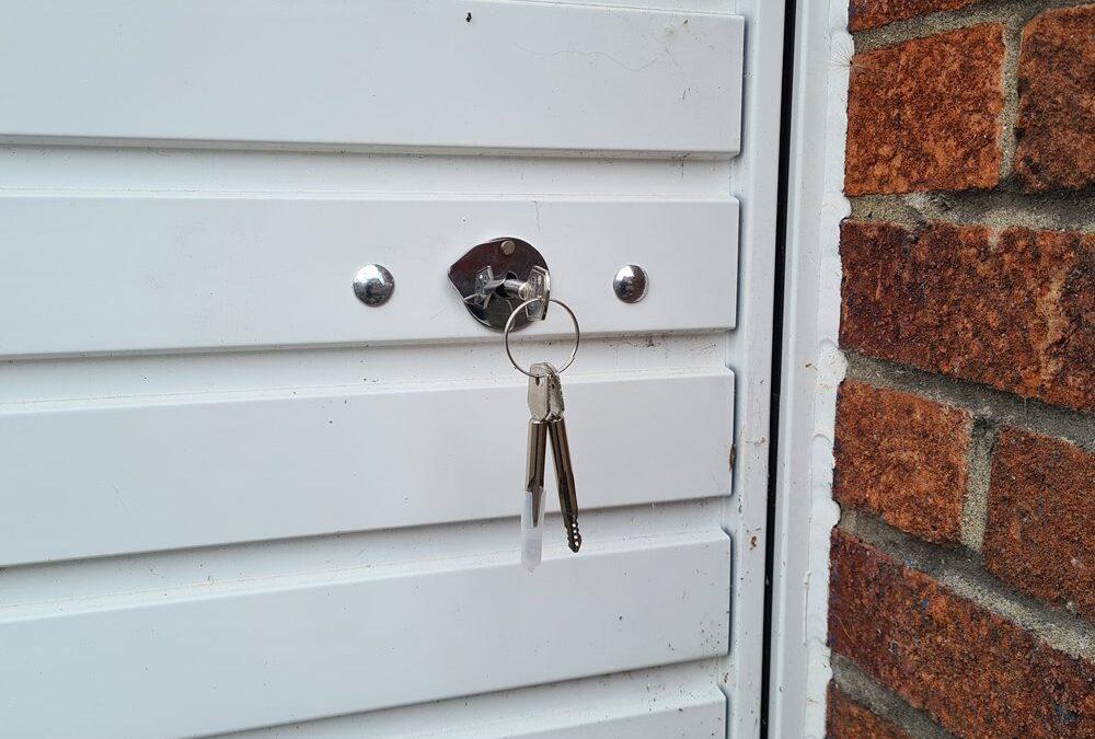 garage door after adding security lock
